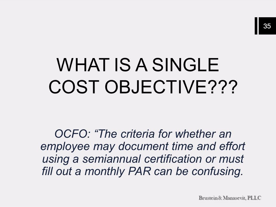 35 Brustein & Manasevit, PLLC WHAT IS A SINGLE COST OBJECTIVE .