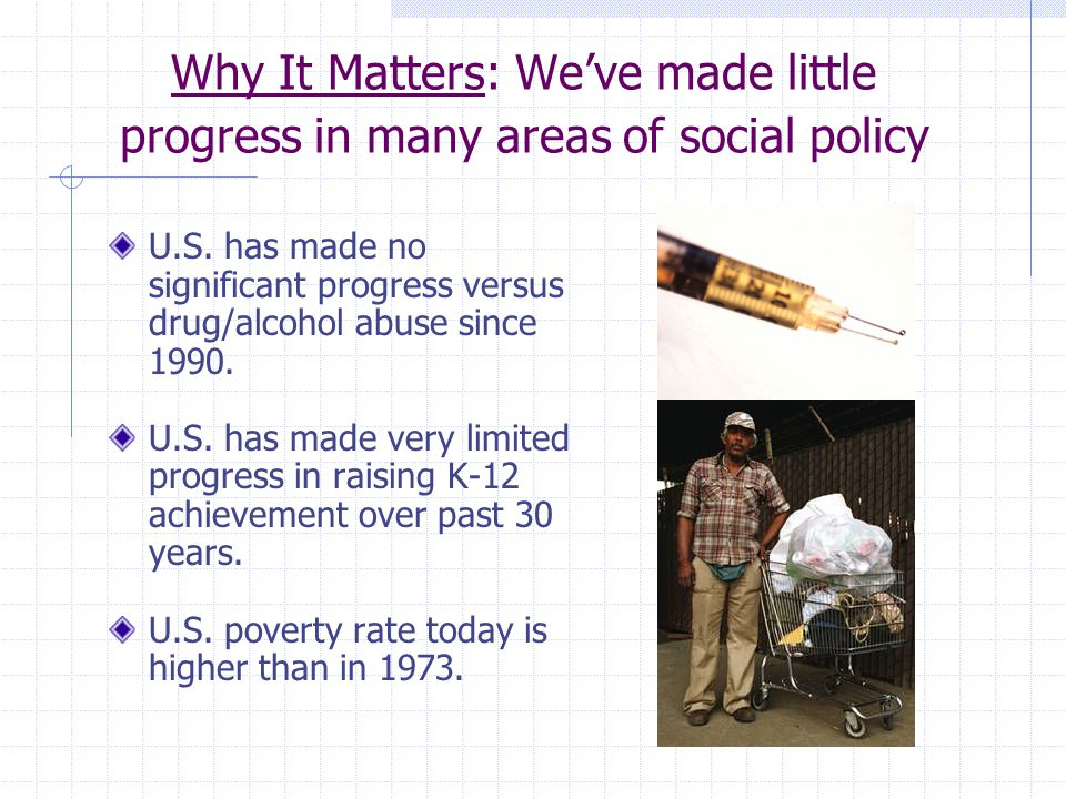 Why It Matters: We've made little progress in many areas of social policy U.S.