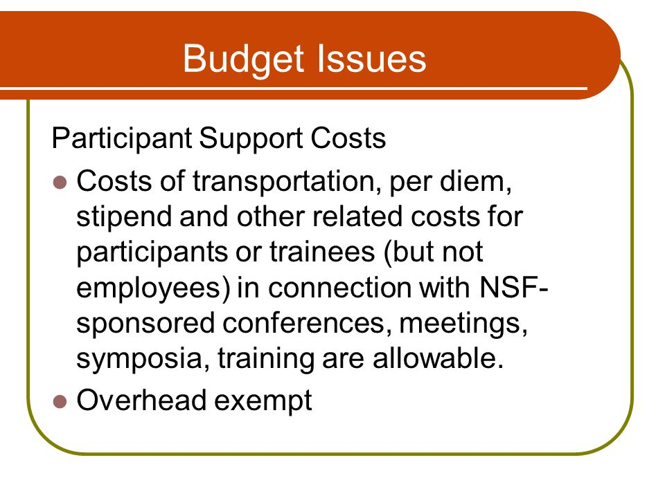 Budget Issues Participant Support Costs Costs of transportation, per diem, stipend and other related costs for participants or trainees (but not employees) in connection with NSF- sponsored conferences, meetings, symposia, training are allowable.