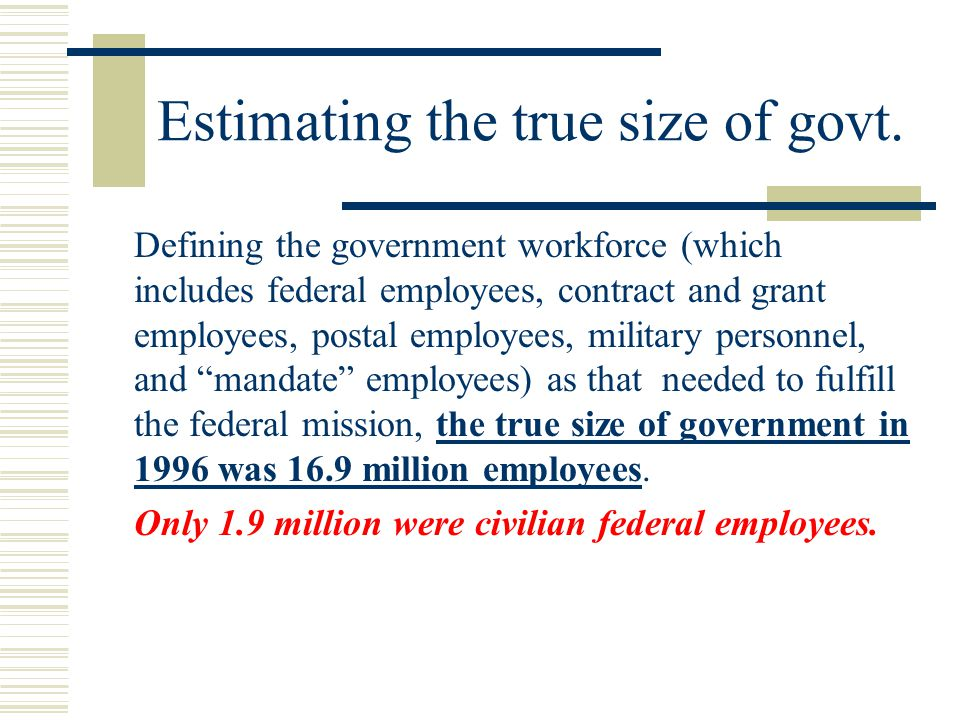Estimating the true size of govt.
