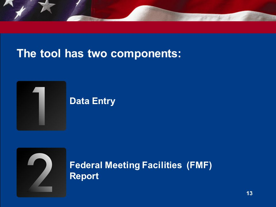 The tool has two components: Data Entry Federal Meeting Facilities (FMF) Report 13