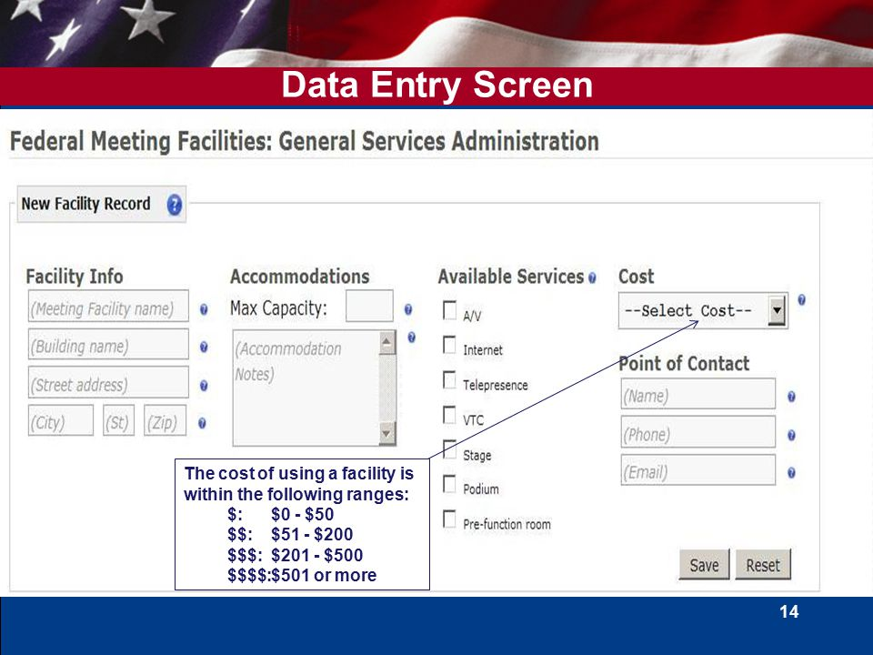 14 Data Entry Screen The cost of using a facility is within the following ranges: $:$0 - $50 $$:$51 - $200 $$$:$201 - $500 $$$$:$501 or more