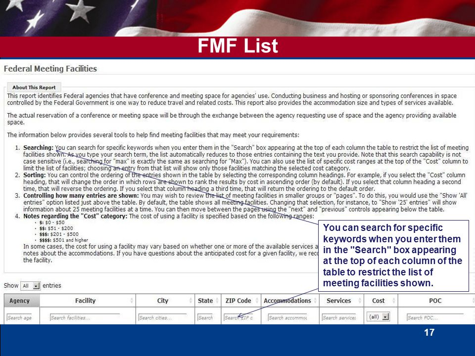 17 FMF List You can search for specific keywords when you enter them in the Search box appearing at the top of each column of the table to restrict the list of meeting facilities shown.