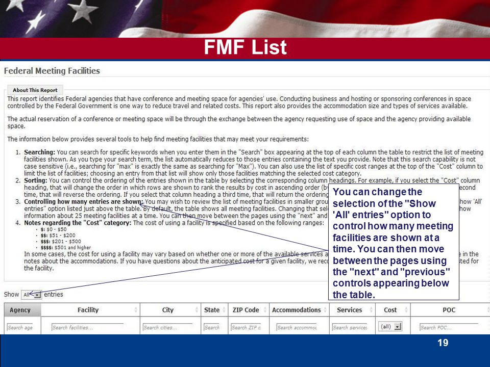 19 FMF List You can change the selection of the