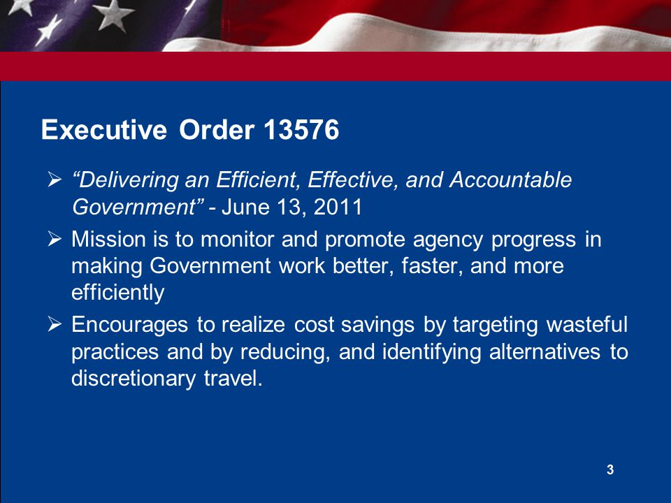 " ""Delivering an Efficient, Effective, and Accountable Government"" - June 13, 2011  Mission is to monitor and promote agency progress in making Gover"
