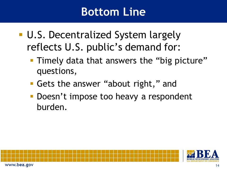 www.bea.gov 14 Bottom Line  U.S. Decentralized System largely reflects U.S.