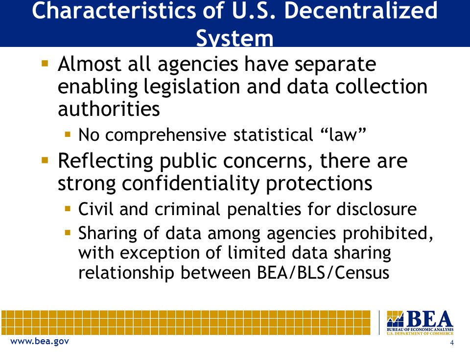 www.bea.gov 4 Characteristics of U.S. Decentralized System  Almost all agencies have separate enabling legislation and data collection authorities 