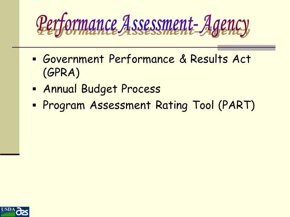 Government Performance & Results Act-1993 Changed ARS From an Output to an Outcome Organization Quality The Commitment to Quality was Institutionalized