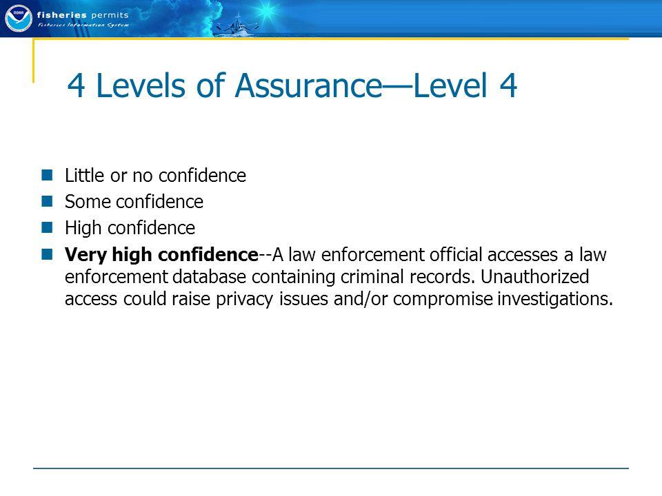 4 Levels of Assurance—Level 4 Little or no confidence Some confidence High confidence Very high confidence--A law enforcement official accesses a law enforcement database containing criminal records.