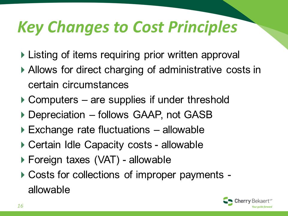 Key Changes to Cost Principles  Listing of items requiring prior written approval  Allows for direct charging of administrative costs in certain circumstances  Computers – are supplies if under threshold  Depreciation – follows GAAP, not GASB  Exchange rate fluctuations – allowable  Certain Idle Capacity costs - allowable  Foreign taxes (VAT) - allowable  Costs for collections of improper payments - allowable 16
