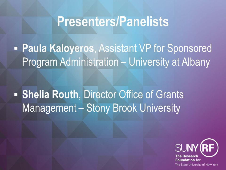 Presenters/Panelists  Paula Kaloyeros, Assistant VP for Sponsored Program Administration – University at Albany  Shelia Routh, Director Office of Gr