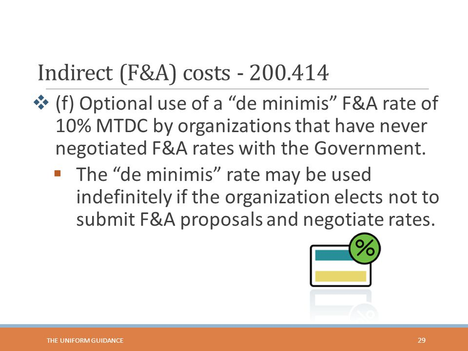 Indirect (F&A) costs - 200.414  (f) Optional use of a de minimis F&A rate of 10% MTDC by organizations that have never negotiated F&A rates with the Government.