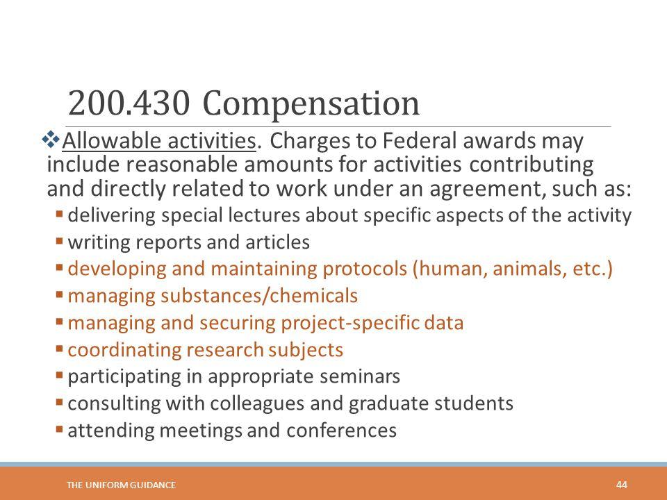 200.430 Compensation  Allowable activities.