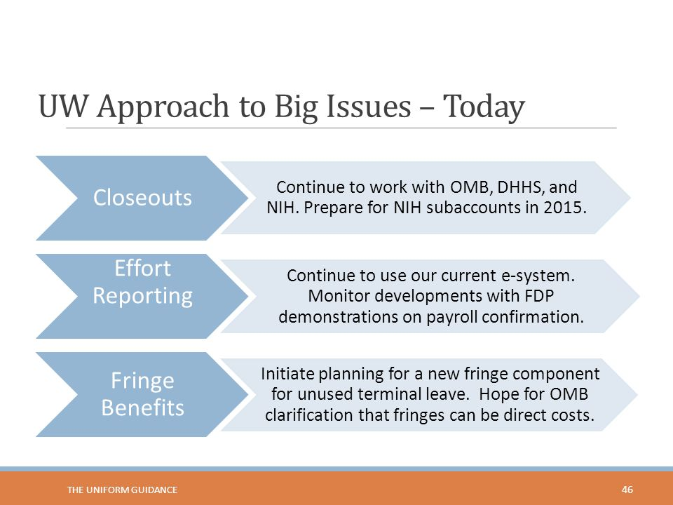UW Approach to Big Issues – Today Closeouts Continue to work with OMB, DHHS, and NIH. Prepare for NIH subaccounts in 2015. Effort Reporting Continue t
