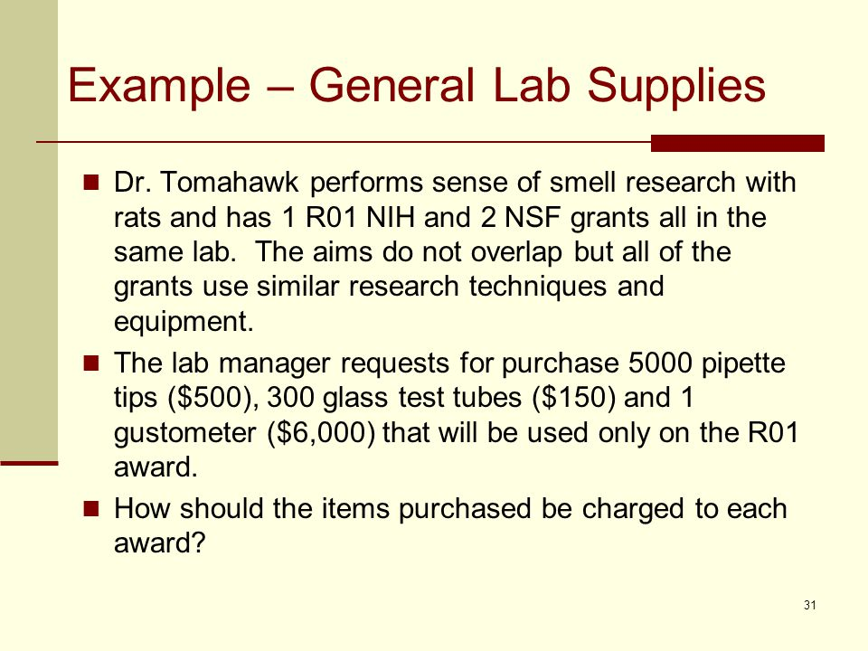 Example – General Lab Supplies Dr.