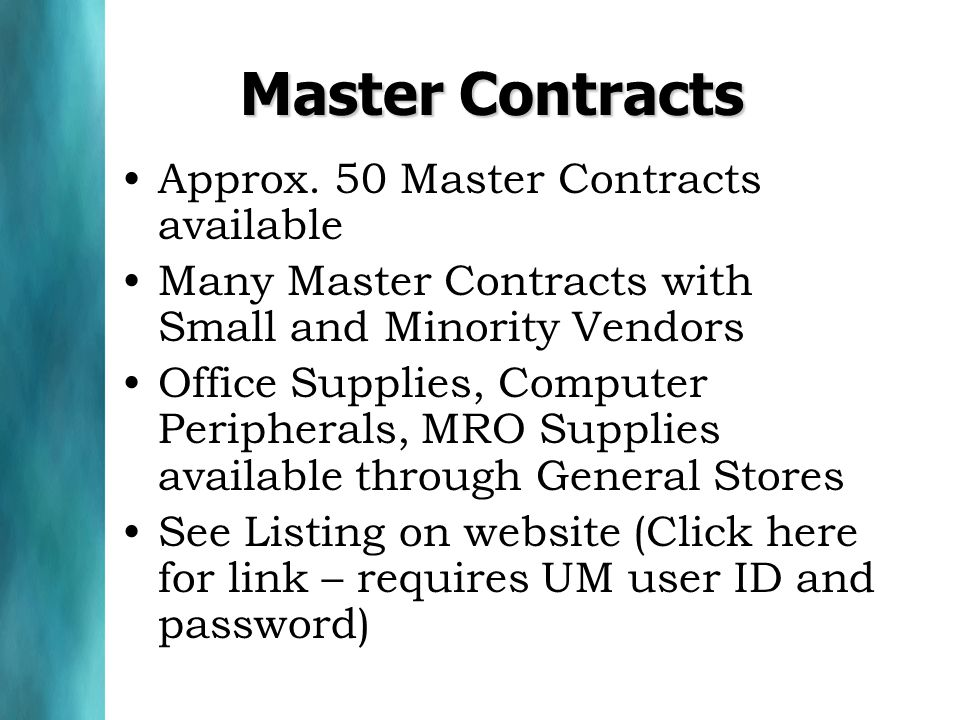 Master Contracts Approx.