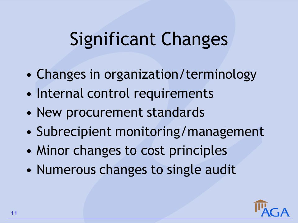 Significant Changes Changes in organization/terminology Internal control requirements New procurement standards Subrecipient monitoring/management Min