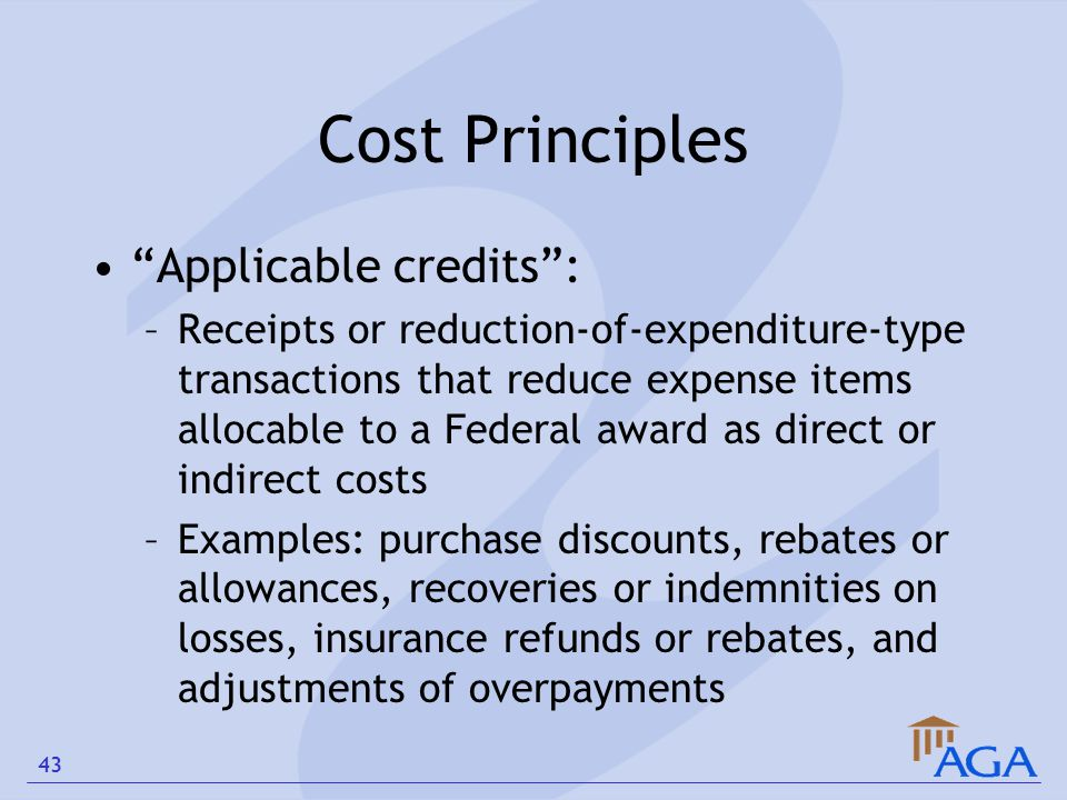 "Cost Principles ""Applicable credits"": –Receipts or reduction-of-expenditure-type transactions that reduce expense items allocable to a Federal award a"