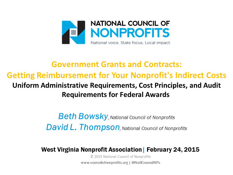 Beth Bowsky Policy Specialist, Government-Nonprofit Contracting, National Council of Nonprofits David L.