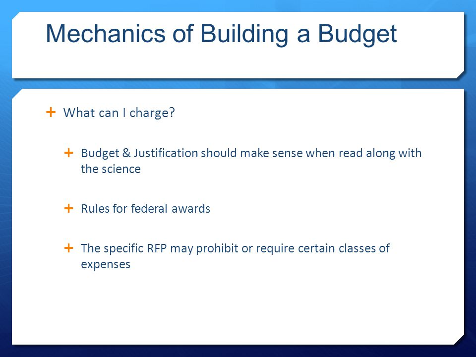 Mechanics of Building a Budget  What can I charge.