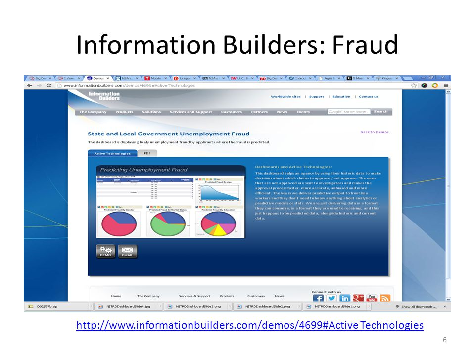 Information Builders: Fraud 6 http://www.informationbuilders.com/demos/4699#Active Technologies