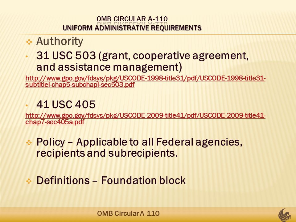  Authority 31 USC 503 (grant, cooperative agreement, and assistance management ) http://www.gpo.gov/fdsys/pkg/USCODE-1998-title31/pdf/USCODE-1998-title31- subtitleI-chap5-subchapI-sec503.pdf 41 USC 405 http://www.gpo.gov/fdsys/pkg/USCODE-2009-title41/pdf/USCODE-2009-title41- chap7-sec405a.pdf  Policy – Applicable to all Federal agencies, recipients and subrecipients.