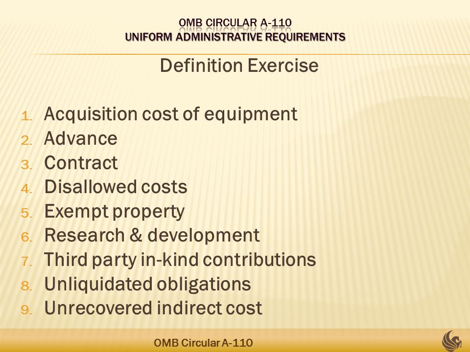 Definition Exercise 1. Acquisition cost of equipment 2.