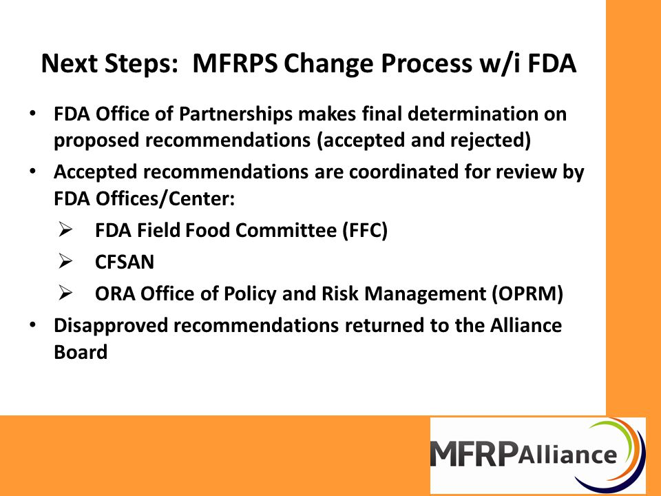 Review of Proposed MFPRS Prior to Internal FDA Review Format layout and numbering system Summary and Outcome Statements Check terminology and definitions Cross reference individual standards with corresponding appendices and other standards