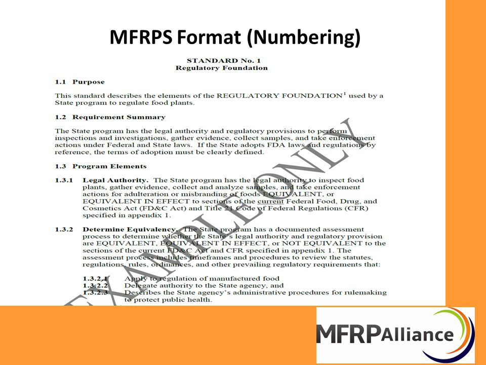 MFRPS Format (Numbering)