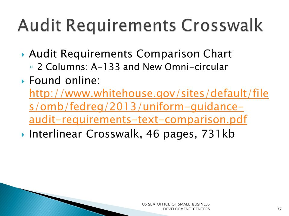  Audit Requirements Comparison Chart ◦ 2 Columns: A-133 and New Omni-circular  Found online: http://www.whitehouse.gov/sites/default/file s/omb/fedr