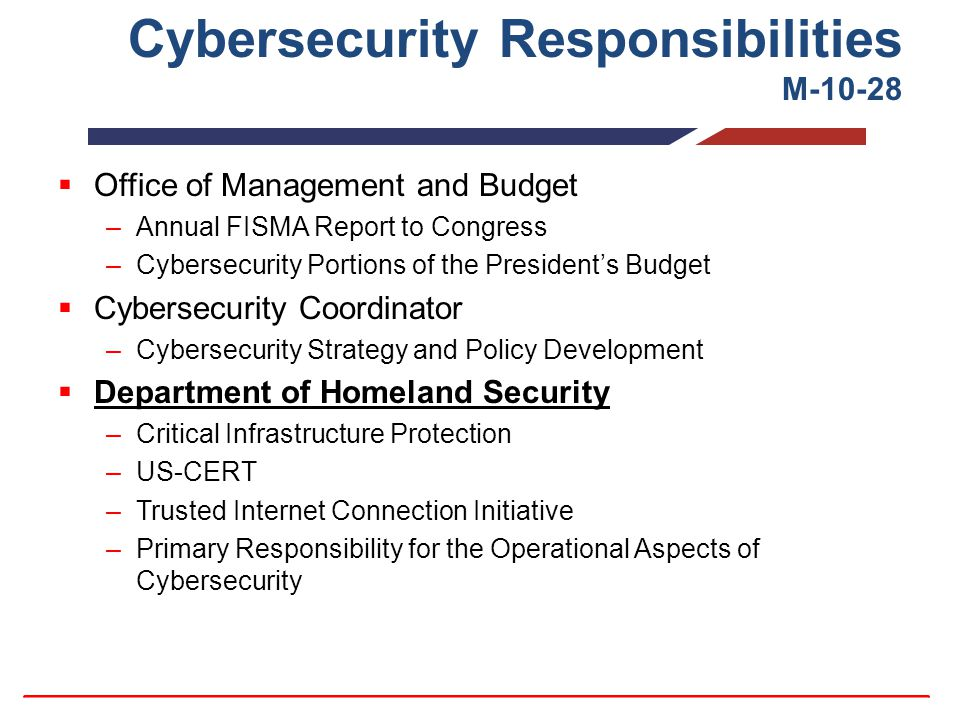 Cybersecurity Responsibilities M-10-28  Office of Management and Budget –Annual FISMA Report to Congress –Cybersecurity Portions of the President's Budget  Cybersecurity Coordinator –Cybersecurity Strategy and Policy Development  Department of Homeland Security –Critical Infrastructure Protection –US-CERT –Trusted Internet Connection Initiative –Primary Responsibility for the Operational Aspects of Cybersecurity