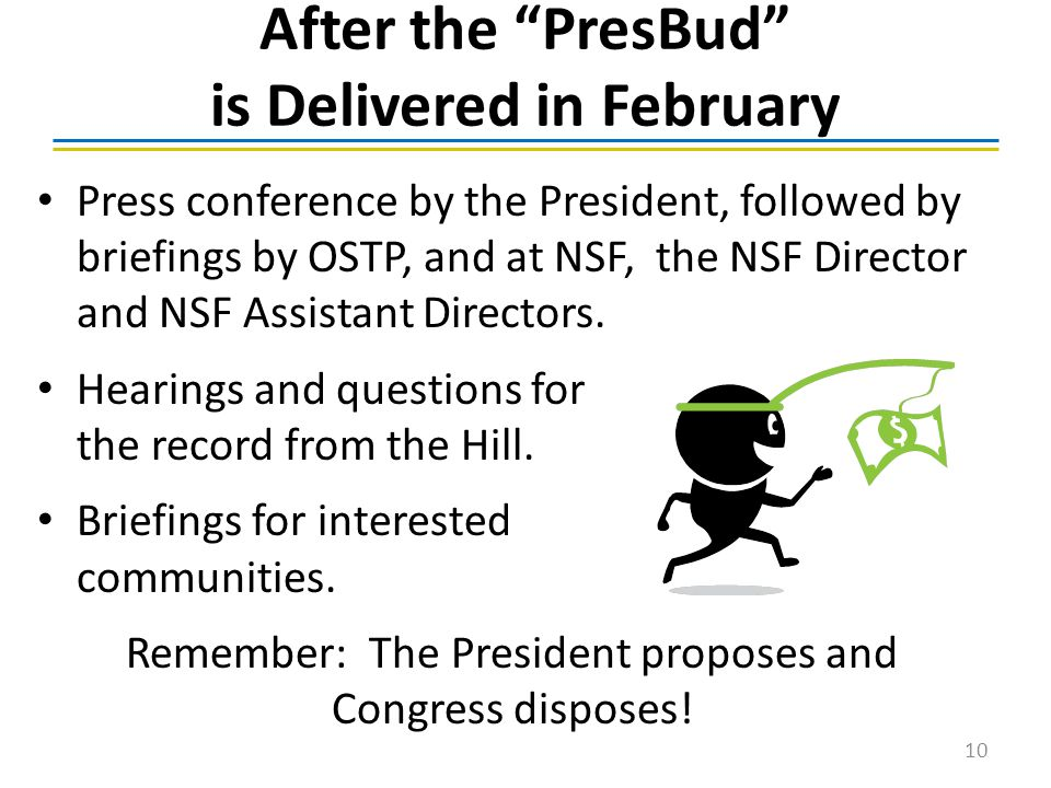 After the PresBud is Delivered in February Press conference by the President, followed by briefings by OSTP, and at NSF, the NSF Director and NSF Assistant Directors.