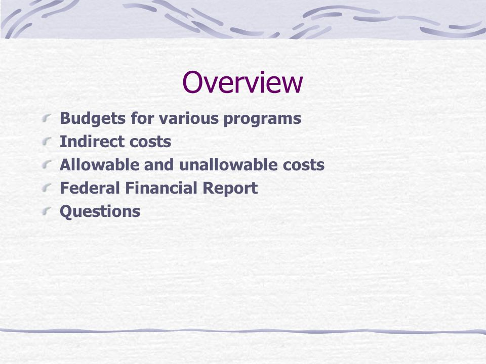 Overview Budgets for various programs Indirect costs Allowable and unallowable costs Federal Financial Report Questions