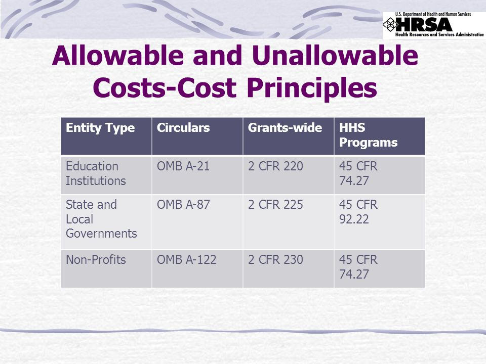 Allowable and Unallowable Costs-Cost Principles Entity TypeCircularsGrants-wideHHS Programs Education Institutions OMB A-212 CFR 22045 CFR 74.27 State and Local Governments OMB A-872 CFR 22545 CFR 92.22 Non-ProfitsOMB A-1222 CFR 23045 CFR 74.27