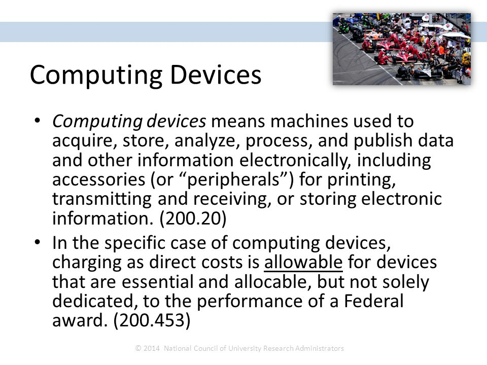 Computing devices means machines used to acquire, store, analyze, process, and publish data and other information electronically, including accessories (or peripherals ) for printing, transmitting and receiving, or storing electronic information.
