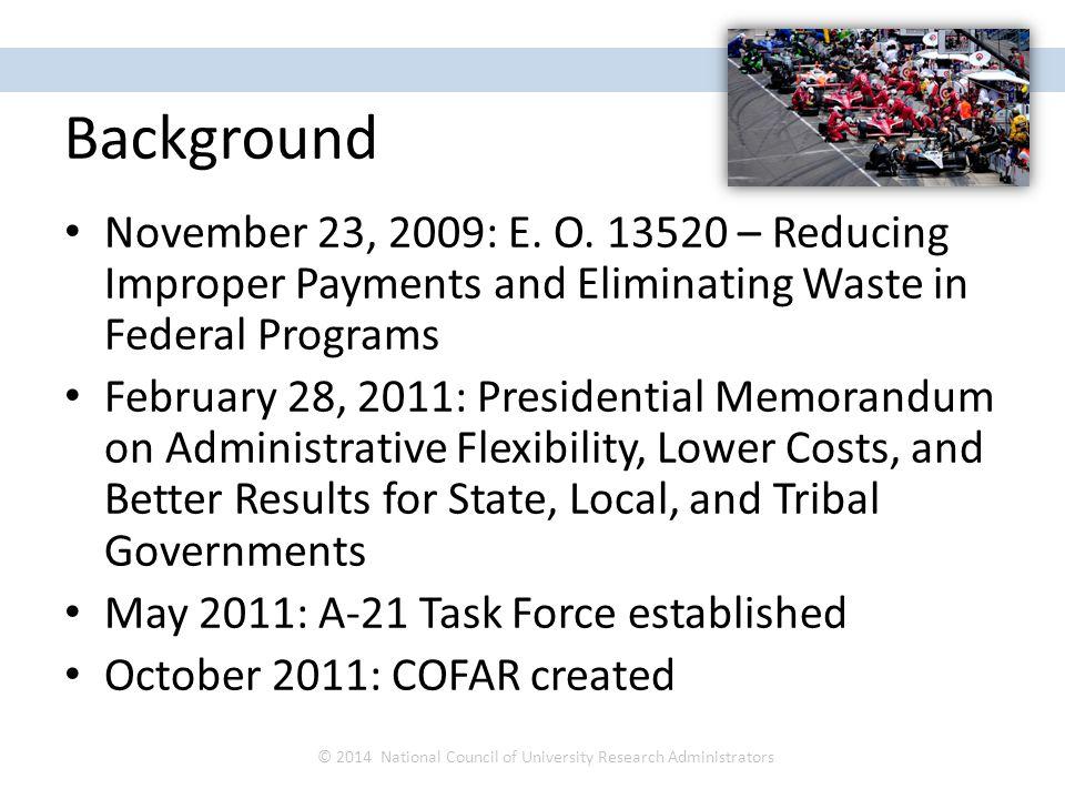 Background November 23, 2009: E. O.