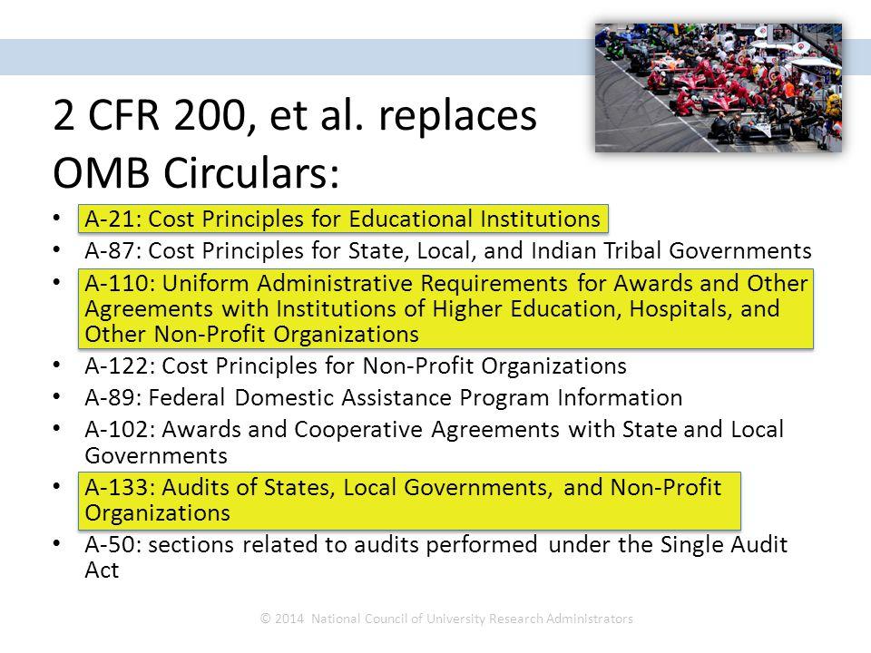 2 CFR 200, et al.
