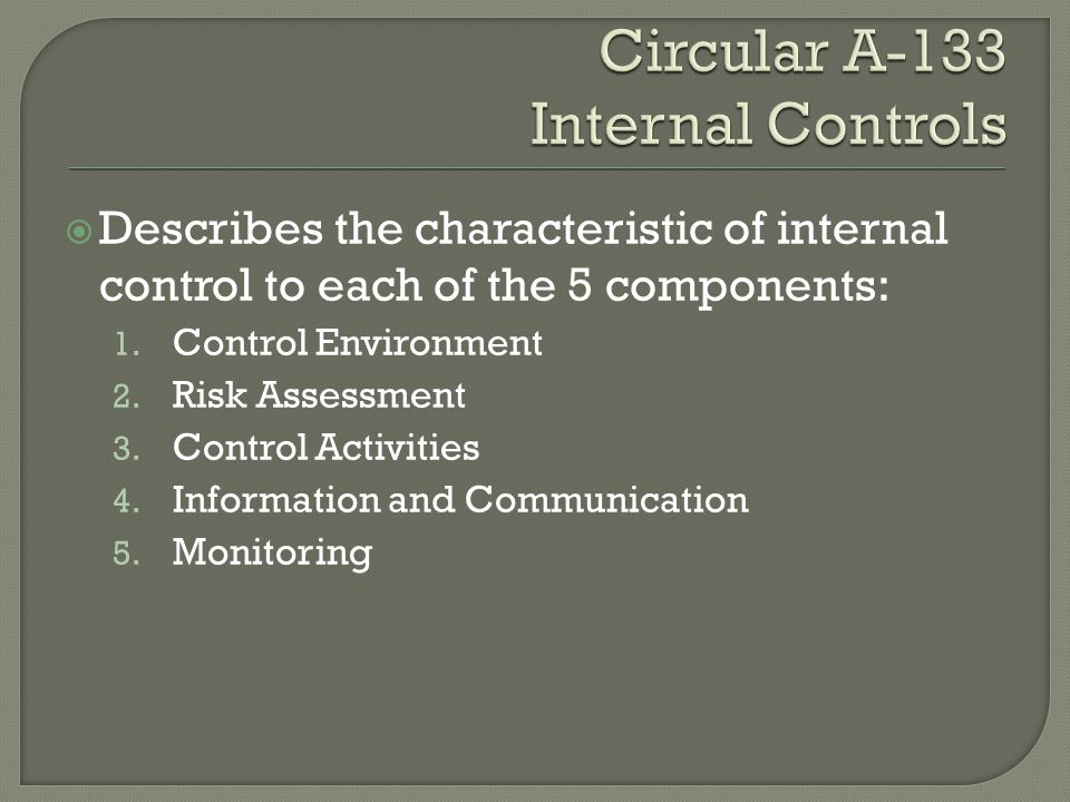  Describes the characteristic of internal control to each of the 5 components: 1. Control Environment 2. Risk Assessment 3. Control Activities 4. Inf