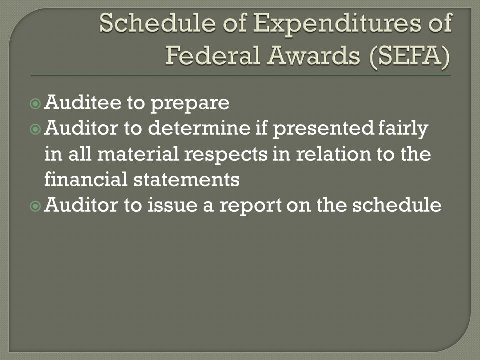  Auditee to prepare  Auditor to determine if presented fairly in all material respects in relation to the financial statements  Auditor to issue a