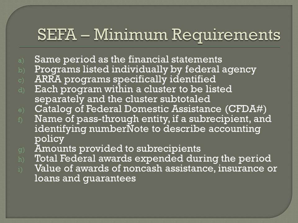 a) Same period as the financial statements b) Programs listed individually by federal agency c) ARRA programs specifically identified d) Each program