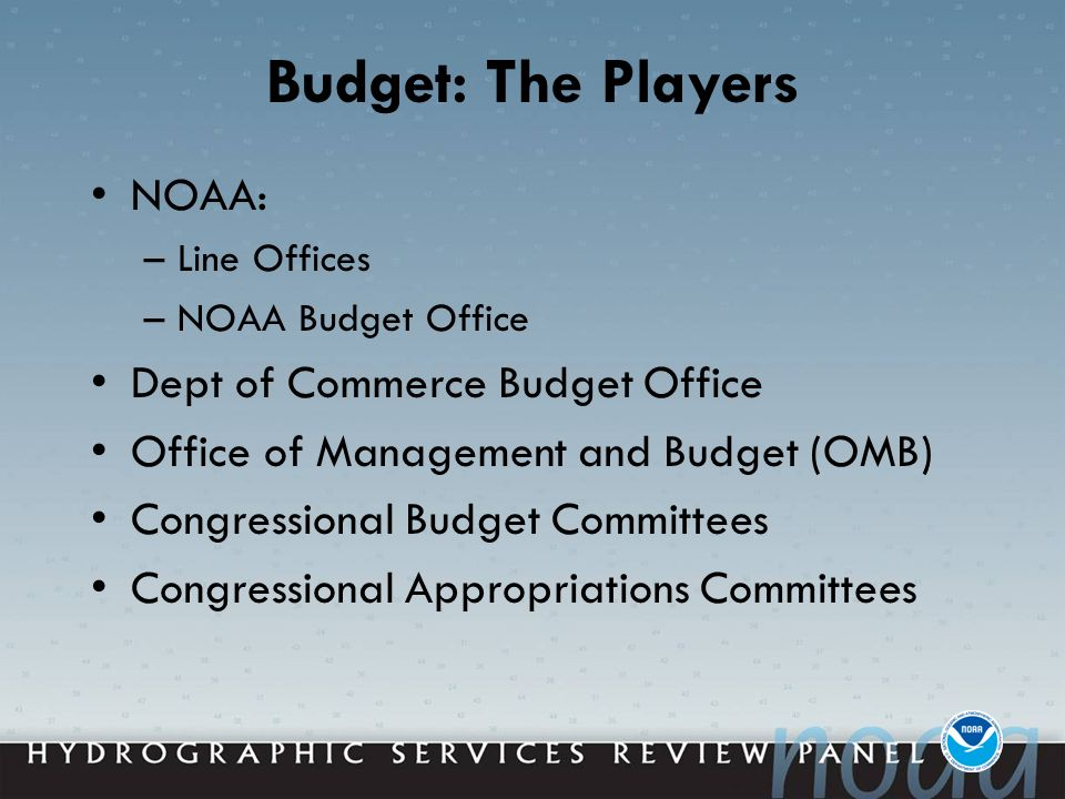 Budget: The Players NOAA: –Line Offices –NOAA Budget Office Dept of Commerce Budget Office Office of Management and Budget (OMB) Congressional Budget Committees Congressional Appropriations Committees