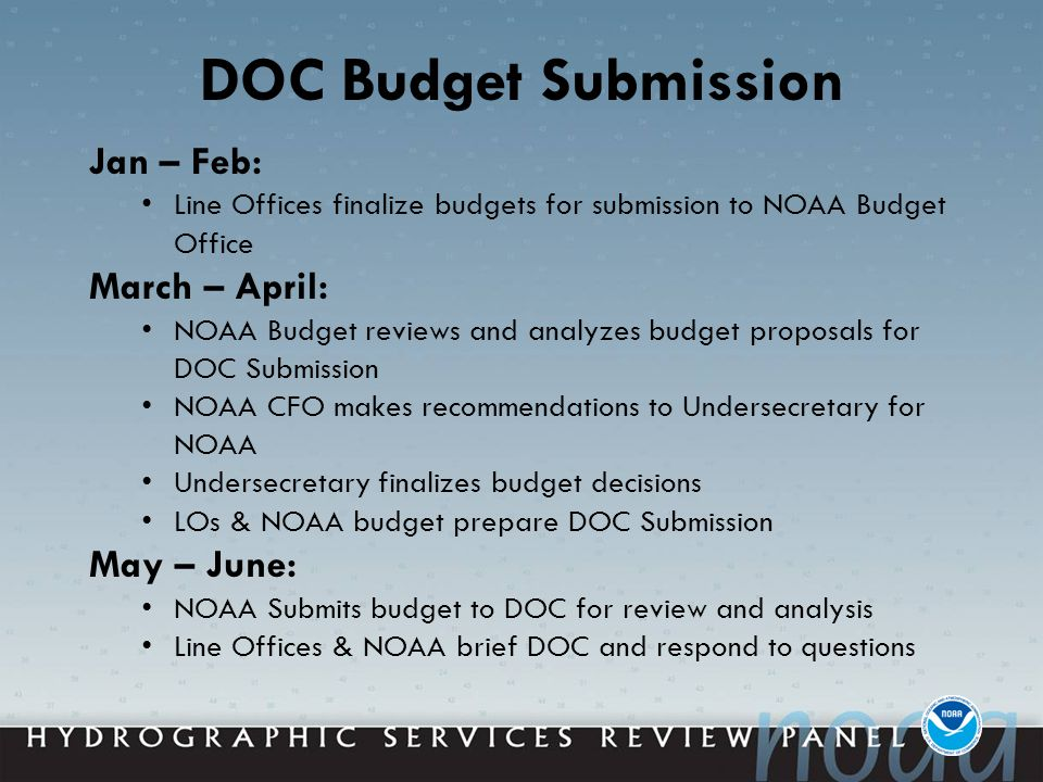DOC Budget Submission Jan – Feb: Line Offices finalize budgets for submission to NOAA Budget Office March – April: NOAA Budget reviews and analyzes budget proposals for DOC Submission NOAA CFO makes recommendations to Undersecretary for NOAA Undersecretary finalizes budget decisions LOs & NOAA budget prepare DOC Submission May – June: NOAA Submits budget to DOC for review and analysis Line Offices & NOAA brief DOC and respond to questions