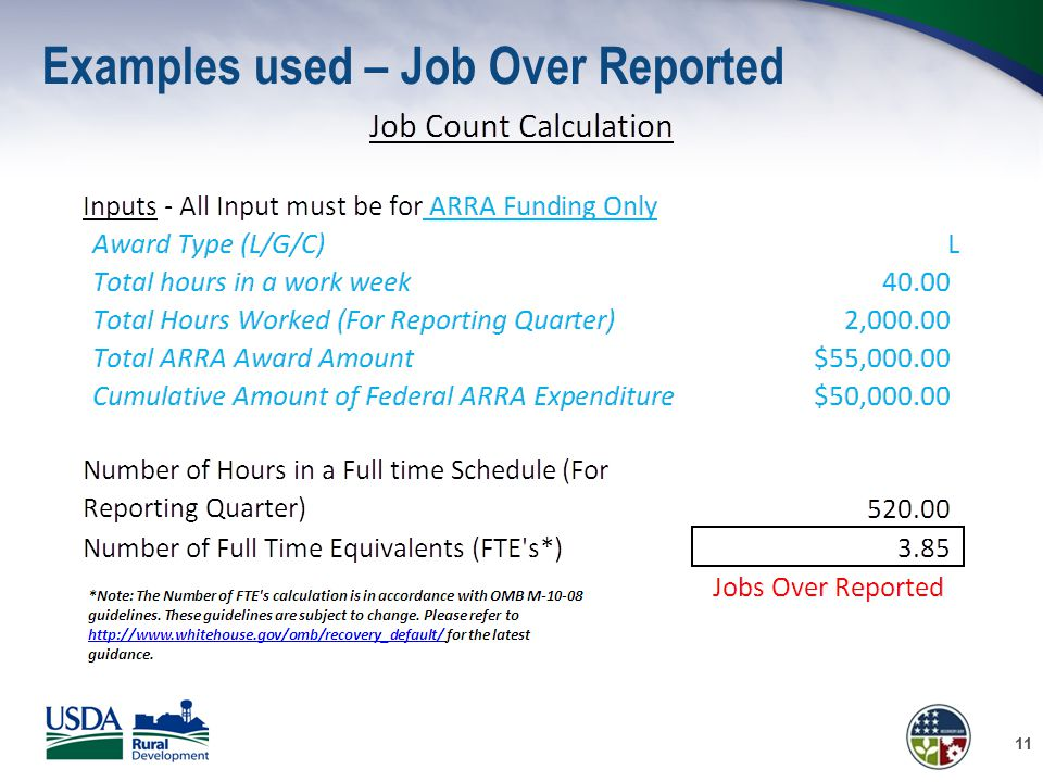 Examples used – Job Over Reported 11