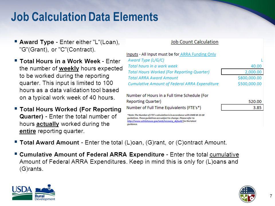 Job Calculation Data Elements  Award Type - Enter either