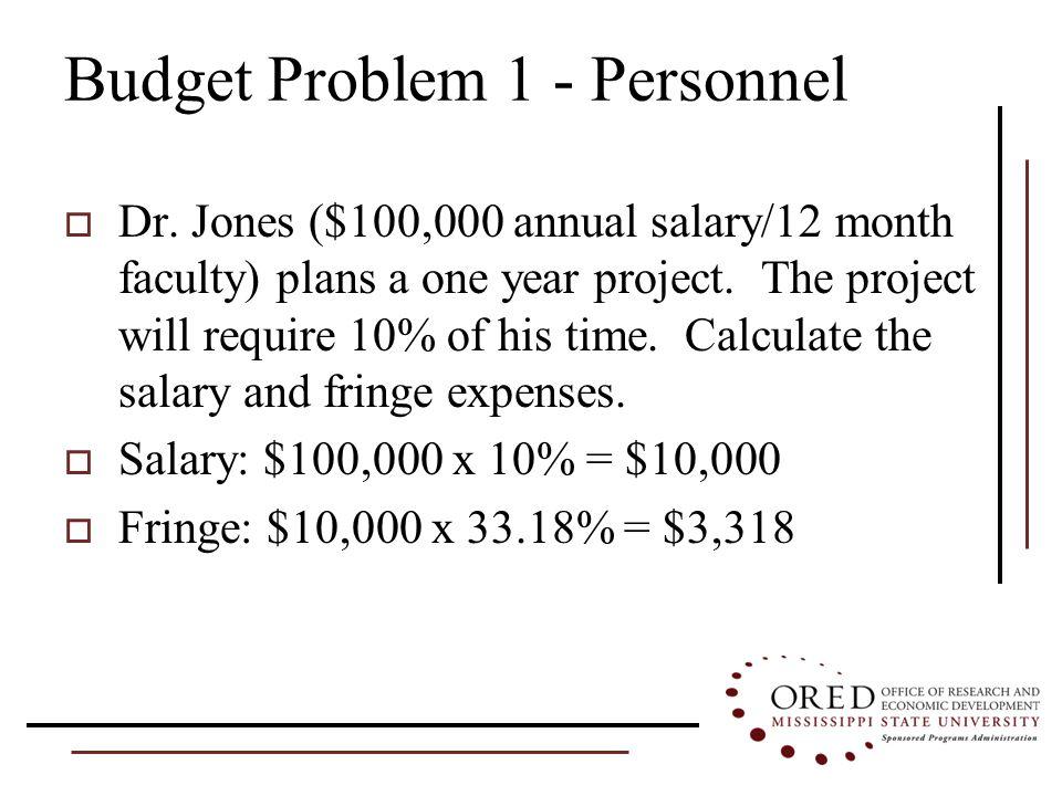 Budget Problem 1 - Personnel  Dr.