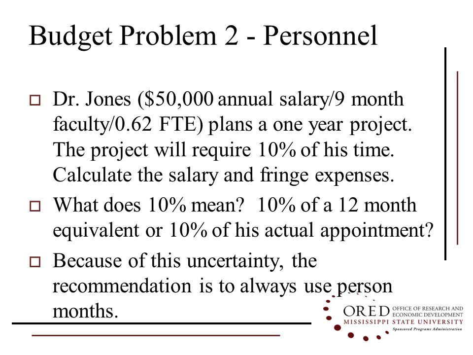 Budget Problem 2 - Personnel  Dr.