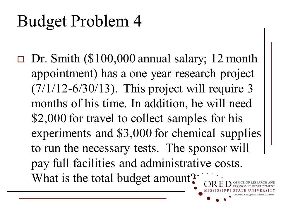 Budget Problem 4  Dr.