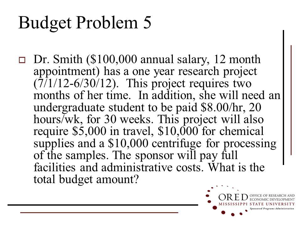 Budget Problem 5  Dr.