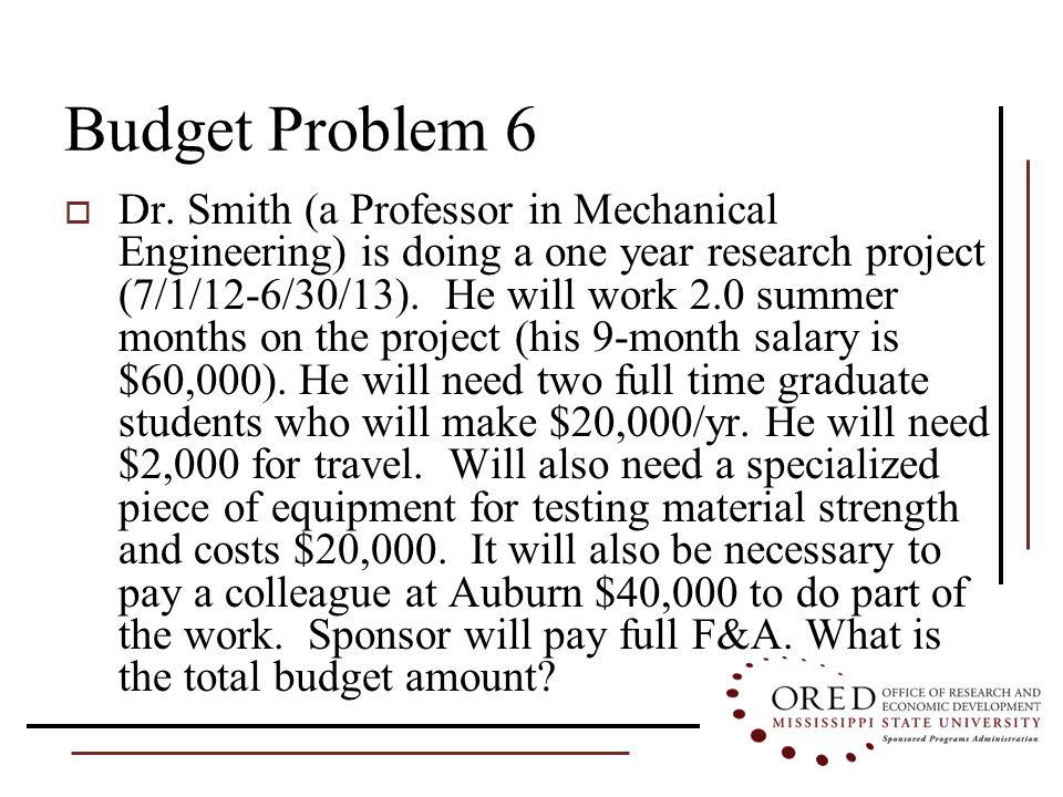 Budget Problem 6  Dr.