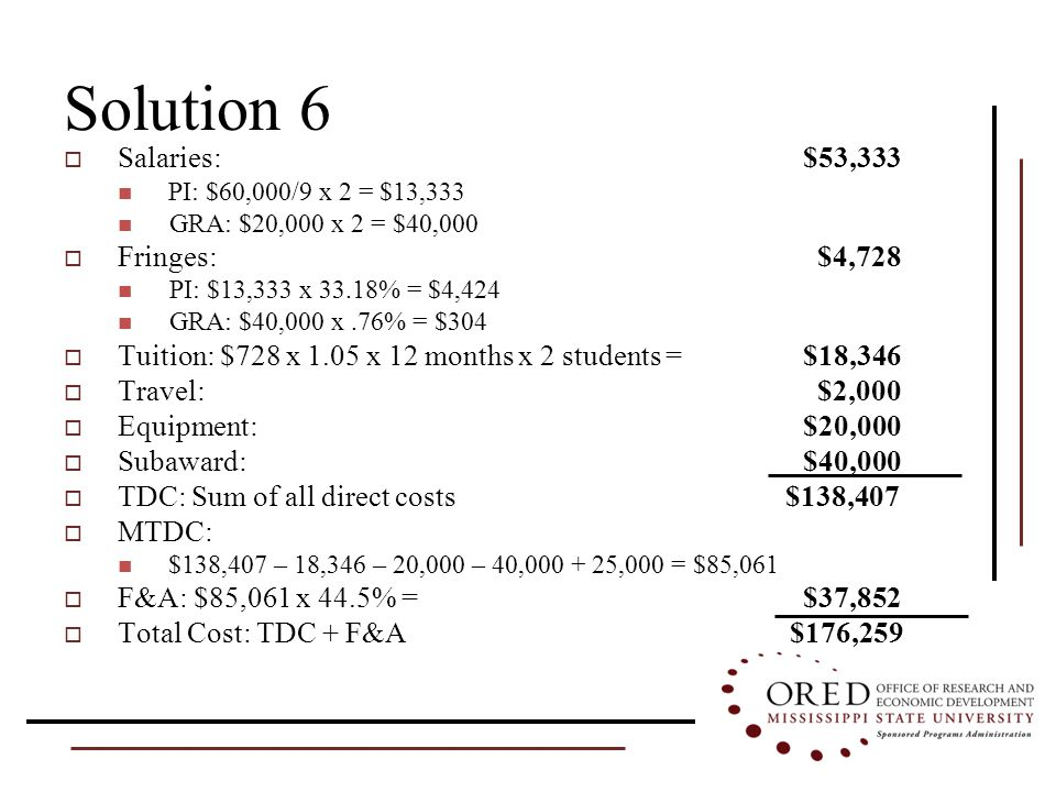 Solution 6  Salaries: $53,333 PI: $60,000/9 x 2 = $13,333 GRA: $20,000 x 2 = $40,000  Fringes: $4,728 PI: $13,333 x 33.18% = $4,424 GRA: $40,000 x.76% = $304  Tuition: $728 x 1.05 x 12 months x 2 students = $18,346  Travel: $2,000  Equipment: $20,000  Subaward:$40,000  TDC: Sum of all direct costs $138,407  MTDC: $138,407 – 18,346 – 20,000 – 40,000 + 25,000 = $85,061  F&A: $85,061 x 44.5% = $37,852  Total Cost: TDC + F&A $176,259